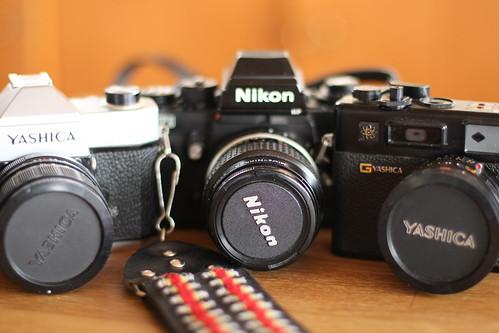 2X Vintage Yashica and a Nikon