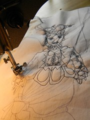 my neck tells me to stop now.... (Danny W. Mansmith) Tags: art lady drawing sewing details wip clothes figure inprogress gesture sewingmachine muslin ballpointpen neckpain drawingwiththread interfacing littlestitches