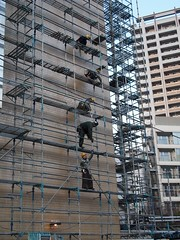Taking down scaffolding