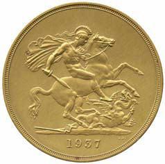 1937 George VI gold matt proof reverse