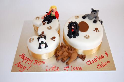 Number 30 Animal Cake Beautiful Birthday Cakes