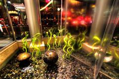 Of Glass and Water (Joseph Eckert) Tags: light sculpture color water glass rock architecture night canon garden washington high dynamic angle interior wide 7d wa nik february feb striking range ultra sculptures 1022mm bellevue hdr bold topaz uwa 2011 photomatix