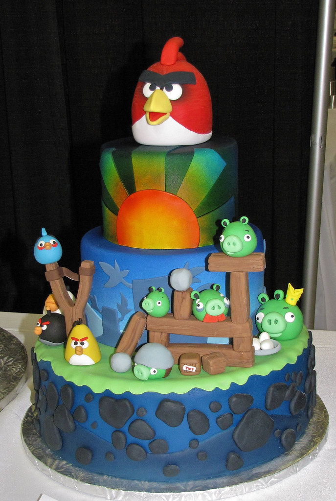 Angry Birds tiered cake by Laura Finlay