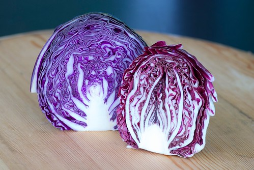 red cabbage and radicchio
