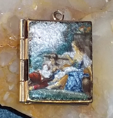 Vintage Enamel Locket with Pastoral Scene