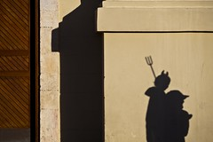The urban devil (Gilad Benari) Tags: city shadow urban art look wall print poster israel kid funny different humour purim jaffa devil custom  gilad         benari