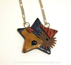 Industrial Star Necklace (Cantankerous Cupcake) Tags: star necklace industrial handmade polymerclay steampunk