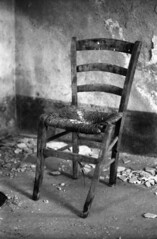 Chair (cetuclac) Tags: sardegna bw italy white black chair italia pentax k1000 kodak seat sit rotten tmx100
