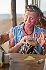 Russel White Plays on Holi Day at Anjuna, Goa , India (Anoop Negi) Tags: pink portrait music india white color colors drums photography for photo media purple image photos percussion delhi indian russel bangalore goa creative images best instrument po mumbai holi anoop tabla negi photosof ezee123 bestphotographer amjuna imagesof anoopnegi loodas looda jjournalism