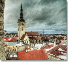 Niguliste Kirik / The sky over Tallinn (Fil.ippo) Tags: tower church landscape san tallinn estonia nicola bell chiesa campanile nicholas hdr filippo kirik eesti niguliste d5000 hdrtist