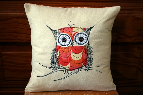 owl stitch pillow