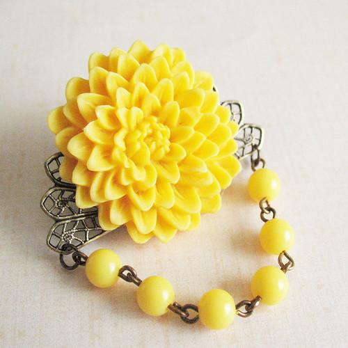Yellow Chrysanthemum Flower Brooch