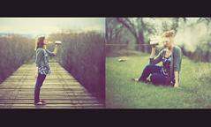 Translation. (-Fearless-) Tags: bridge trees portrait girl face grass self tin diptych shoes shadows phone fireworks branches smoke flames nevada can smoking conceptual sparkler spark cardigan brambles edit greengrass extinguish sortof smokebombs itsalmostspring tincanphone ifyoupretenditdoesntsnoweverydayyoumightthinkthat