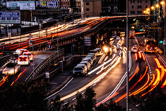 Starting the Weekend (FButzi) Tags: olympus omd em10 40150mm f4056r genova genoa italy caricamento traffic lights long exposure