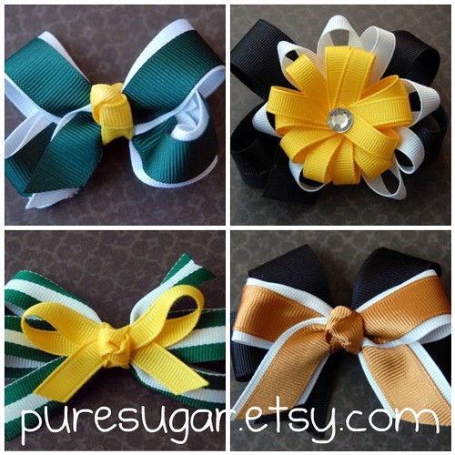 super bowl-inspired bows