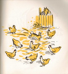 Tufty Rabbit with the hens (Joey's Dream Garden) Tags: cute rabbit bunny yellow vintage graphicdesign illustrations drawings books childrens hens