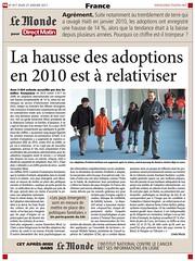 Le Monde - Article: La hausse des adoptions en 2010 est à relativiser