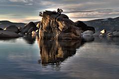 Bonsai! the Deuce [HDR] (Nick Parkey) Tags: sunset lake mountains water rocks tahoe hdr bonsairock