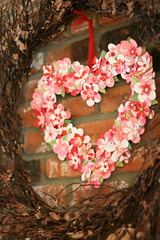 Heart Wreath (Bunches and Bits {Karina}) Tags: pink flowers decorations red love birds scrapbook paper hearts buttons craft valentine wreath punch decor mantle valentinedecorations