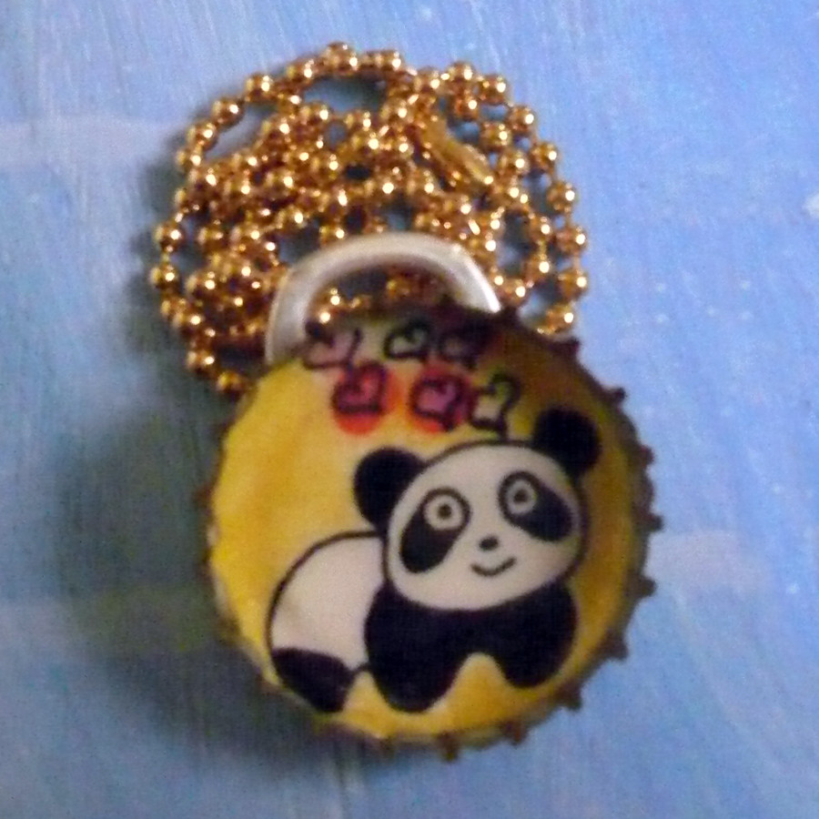 Panda Love - Bottlecap Ball chain Necklace