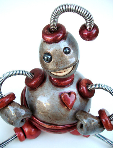 Silver Red Ned Storage Bot Robot Sculpture - Front Close Up