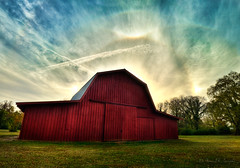 Blue Iris Over the Red Barn (Proleshi) Tags: blue iris red sky sunlight grass sunshine clouds barn skyscape cloudy bracket rusty surreal halo rays sunrays hdr greengrass expanse sunbow 3exp d300s proleshi jamaljosephs prismaticarc
