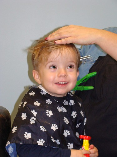 Happy 3rd birthday! Grandson #2, getting a haircut