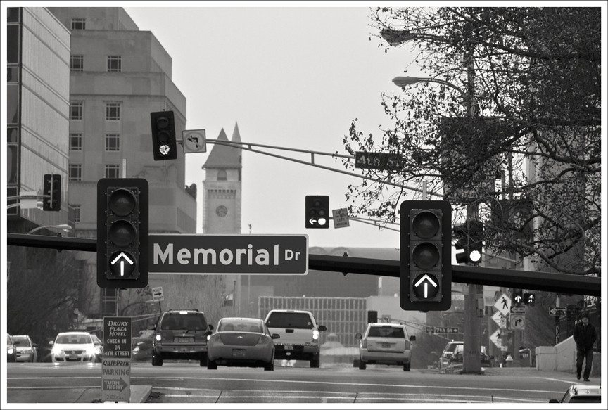 Memorial Drive and Market Street BW