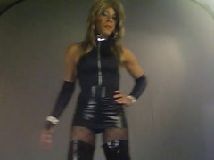 Kacey's 2nd Video (kaceycd) Tags: shiny boots tgirl gloves transvestite tight bodysuit miniskirt pantyhose crossdress spandex lycra tg leotard kinkyboots thighboots wetlook platformboots stilettoboots fishnethose sexyboots stockingboots fencenethose