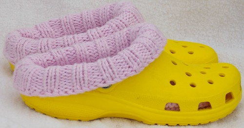 Clog liners adult size 8 pink lliner, yellow clog  side view