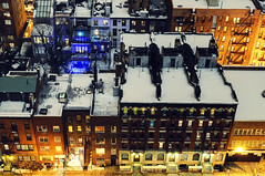 Kips Bay cross streets at night, New York City (andrew c mace) Tags: above nyc newyorkcity longexposure roof winter urban snow newyork rooftop night cityscape manhattan 34thstreet aerial brownstone brownstones murrayhill kipsbay colorefex nikoncapturenx nikkor35mm nikond90