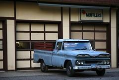 blue grey chevy truck (Studiobaker) Tags: blue summer minnesota truck grey bed cab garage side gray pickup front chevy bumper fender end hood summertime grille mn farmington mufflers studiobaker