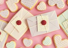 Love Letter & Scripted Heart Cookies (Sweetapolita) Tags: wedding cookies heart pastel envelope valentines script sugarcookie fondant loveletters