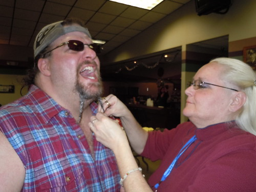 02/05/11 Sarah Wierman Benefit (Division Nine guitarist gets a last minute pre-show beard-tweak)