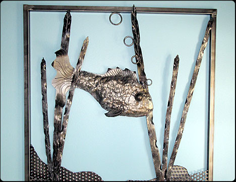 Catch and Recycle Steel Fish Wall Art