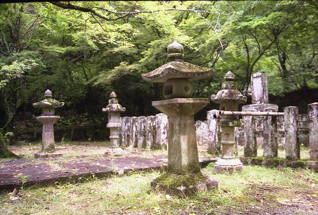 森の墓石のフリー写真素材