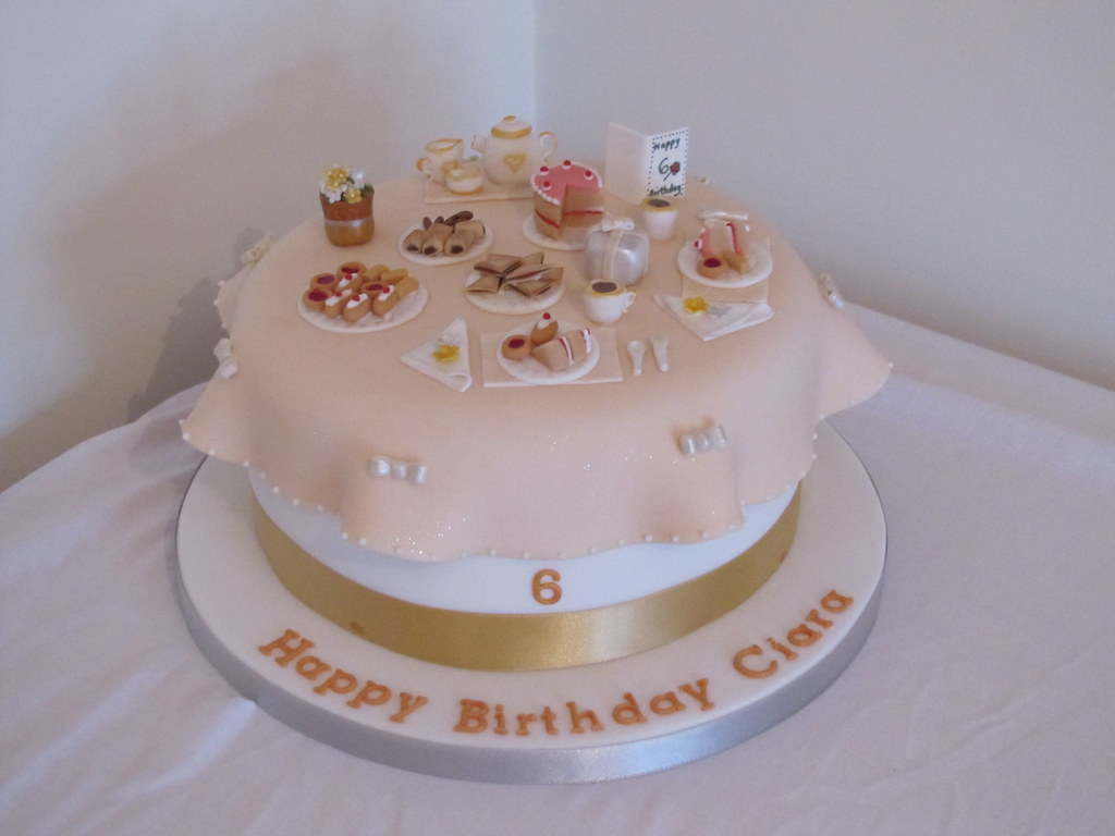 Tea Party cake (gold and silver theme)