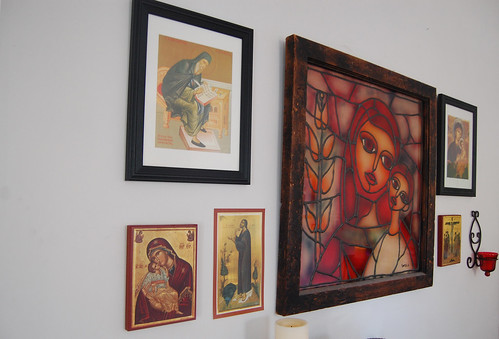 icon wall in the living room
