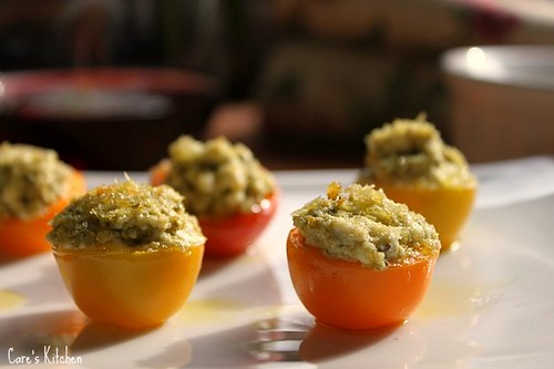 Mini Heirloom Tomatoes Stuffed with Pesto Goat Cheese ~ Instant Appetizer