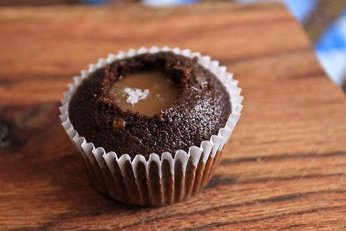 Salted caramel dark chocolate cupcake in progress
