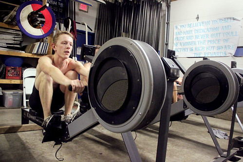 Morgan Ewing '11 works out with the Ithaca College Crew Team at the Ithaca Boathouse. Photo by Jacob Lifschultz.