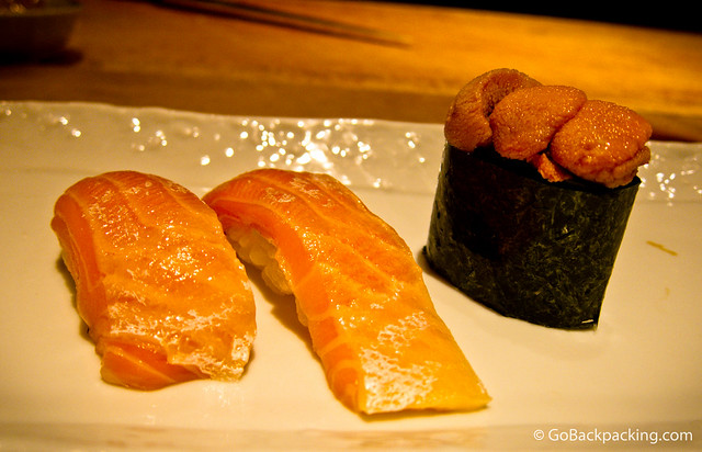 Salmon belly and sea urchin