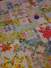 Quilt sandwich - vintage sheets (Paula Wessells) Tags: vintage quilt sheets spicedciderpattern