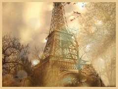 Eiffel Tower through dreamy eyes... (Jen's Photography) Tags: park city trip trees winter vacation paris france texture 2004 metal sepia architecture outside march nikon europe eiffeltower manipulation tint coolpix layer pointandshoot dreamy tinted recolored coolpix2100 jensphotography snapandshoot