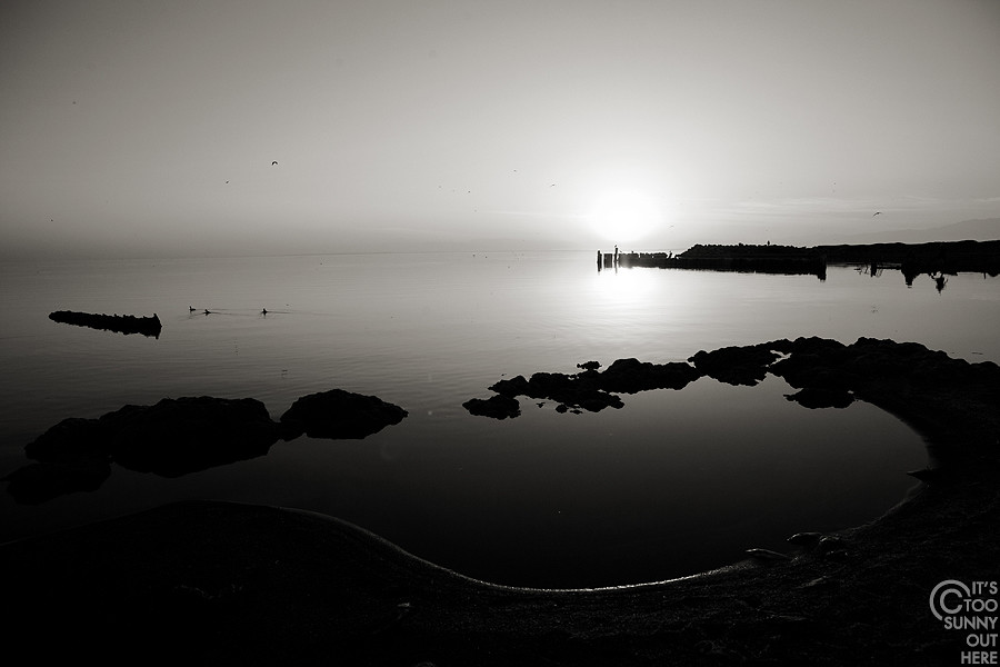 Salton Sea in black and white