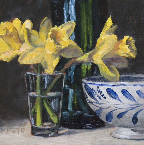 20110213 daffodils bowl and bottle 6x6