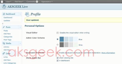 wordpress 3.1 profile