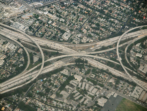Above interchange of I-10 and I-405 Freeways, Los Angeles, California