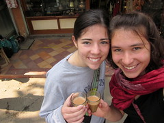 Sarah Schoenhals and Tessa Gerberich about to drink some local chai.