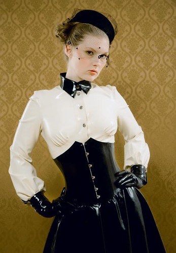 Latex Clad Lady [image info request] -- corset latex veil glamour black skirt white gummi gloves blouse rubber image